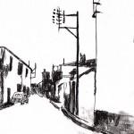rue dans un village de Charente maritime (d'après une photo d'André Bazin)