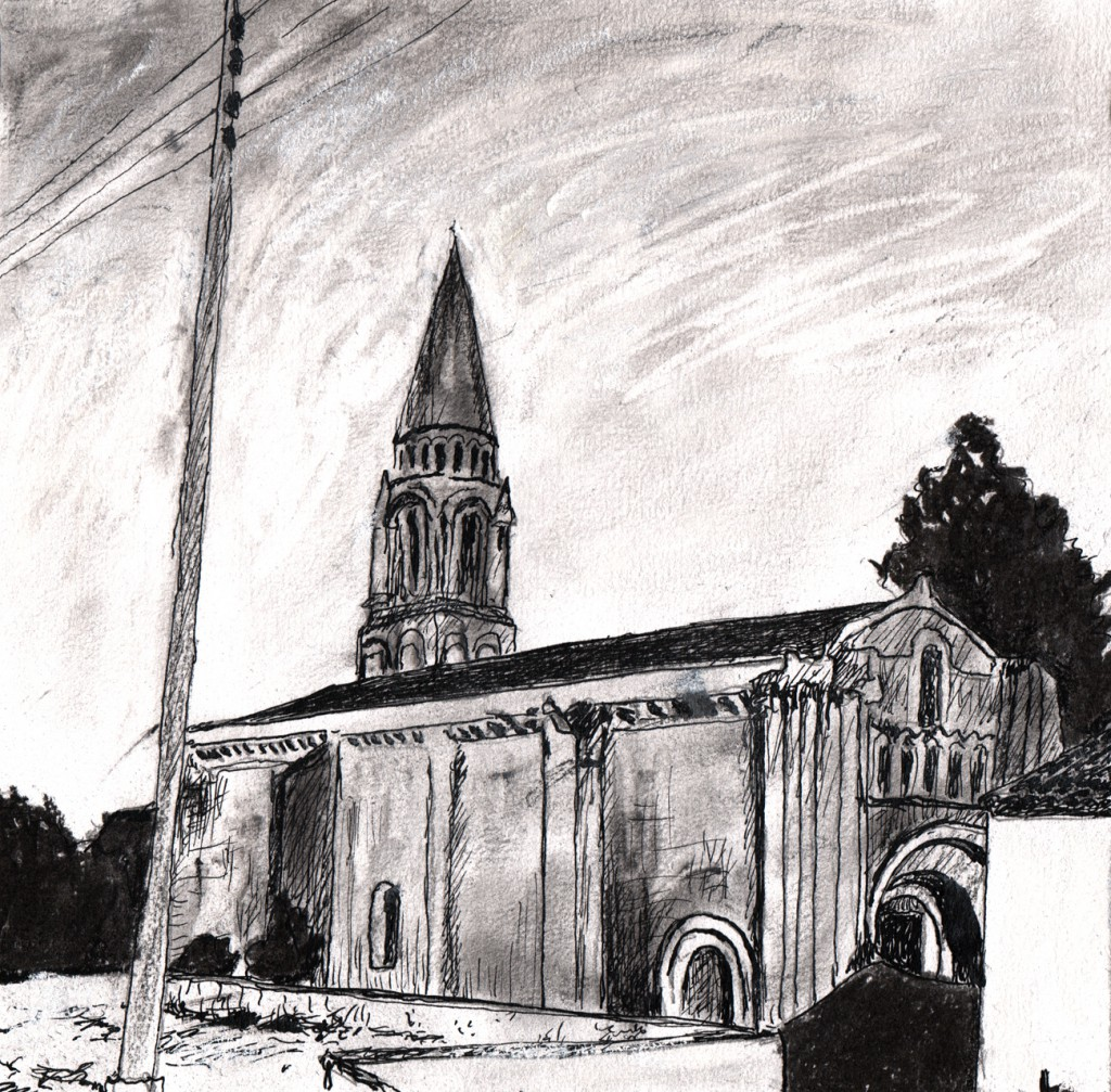 church in Fenioux, from a photo by André Bazin