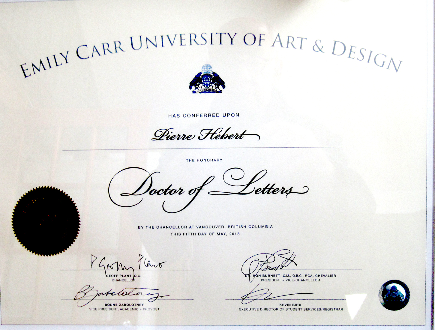 Honorary Doctorate From The Emily Carr University Of Art And Design - Art design document
